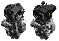 「スズキ・ハスラー」に搭載される「R06A」型エンジン。右が自然吸気、左がターボ。