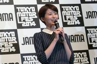 「東京モーターフェス2014」のCMに出演しているタレントの鈴木ちなみさん。