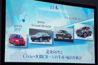 北米向けの「アコードハイブリッド」や「シビック」は、日本で生産し輸出する見通し。