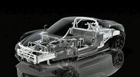 バスタブ型のカーボン製シャシーとアルミ製サブフレームからなる「4C」の構造を示すイメージ図。