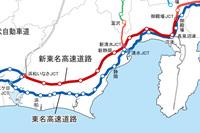 新東名高速道路で制限速度引き上げが予定されている路線は地図の赤い部分(御殿場~浜松いなさジャンクション間約145km)。 (画像提供=NEXCO中日本)