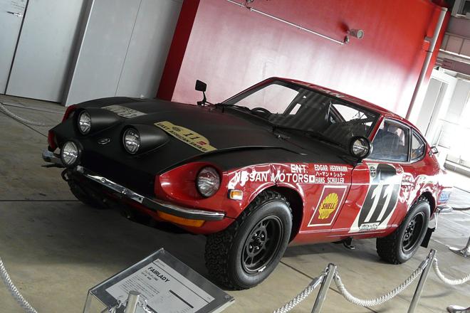 ピットビルでは貴重なヒストリックカーの展示も行われていた。こちらは1972年のサファリラリーで総合優勝を遂げた「フェアレディ240Z」。