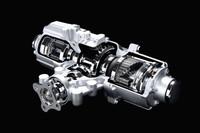 「ジューク」の4WDシステムのキモとなる「トルクベクトル」システム。左右それぞれに設けられた電子制御カップリングを介して、リア両輪間のトルク配分を行う。