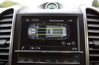 ハイブリッドシステムのエネルギーフローは、インストゥルメントパネル中央の液晶画面で確認できる。
