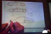 エンジン搭載位置について、レーシングカーとの共通性を説明する、エクステリアデザインを担当したフランク・ランベルティ氏のスケッチ。