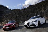 1000万円超のDセグ・ハイパフォーマンスセダン市場を騒がせる「ジュリア クアドリフォリオ」(写真右)。その挑戦を、長い歴史を持つ「BMW M3」(同左)が受けて立ちます。(photo:北畠主税)