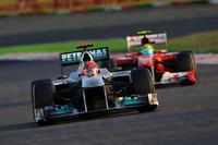 鈴鹿でのタイトル決定は2003年以来8年ぶり通算11回目。その時チャンピオンとなったのが、ミハエル・シューマッハーだった。カムバックを果たして2年目にして、メルセデスを駆り暫定的ながらトップを周回。6位でフィニッシュした。(Photo=Mercedes)