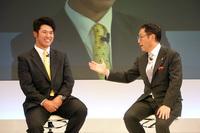 松山英樹選手とレクサスのチーフブランディングオフィサーも務める豊田章男社長。