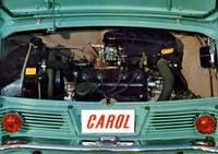 搭載状態でのDA型エンジン。シリンダーは30度ほど後ろに傾いている。ちょうどエンジン横置きのFF車を、180度ひっくり返したような形式である。