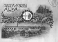 「アルファ・ロメオ」の前身となったロンバルダ自動車製造の製品には、社名の頭文字をとった「A.L.F.A.」(アルファ)の名前が与えられた。上のイラストに描かれているのは、同社にとって初の製品であり、初めて「アルファ」の名を冠したとされる「24HP」。
