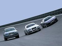 アウディのコンセプトカー3車種。左から、「パイクスピーク クワトロ」「ヌボラーリ クワトロ」「ルマン クワトロ」