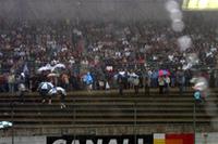 降り続く雨の中、グランドスタンドのファンが予選を見守る。