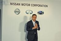 日産の西川廣人(さいかわひろと)社長兼CEO。「グローバルでの累計生産台数1億5000万台という節目を、新型『リーフ』とともに迎えられたことがうれしい」と語った。