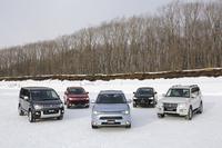 試乗のために用意された5車種の4WD車。残念ながら「ランサーエボリューションX」は用意されていなかった。