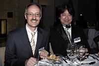 「7シリーズ」の開発責任者、アーミン・ヒルディシュさんとディナーで同席。(以上写真は高橋信宏)