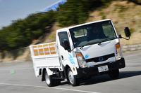 100%電気トラックの「e-NT400」。小型トラックの「アトラス」をベースに、電気自動車の「リーフ」のコンポーネンツを搭載している。