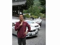 京都で開かれた試乗会で。寺とレクサス!