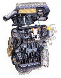 新開発のヘッドを載せるDOHCエンジン。