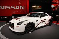 """「ニスモGT-R RC」。RCは""""Racing Concept""""の略。スリックタイヤ対応、軽量化、安全対策などを施したサーキット走行専用車両で、世界各国で行われているプロダクションレースに出場可能という。つまりコンセプトは「レクサスIS F CCS-R」とほぼ同じ。"""