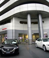 会見当日、東京青山にある本田技研工業本社の様子。スーパーアグリ撤退時はファンが押しかけた本社前だが、今回はごらんのとおり。