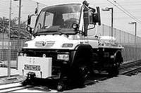 多目的作業車「ウニモグ」に線路を走るモデルの画像