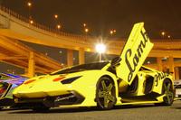 """「アヴェンタドール LP720-4 アニヴェルサリオ」。ボディーサイドの""""Lamborghini""""部分にスワロフスキーを使用。(諸星氏所有により写真の無断転載不可)"""