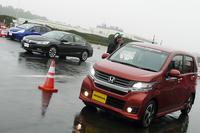 会場には新型軽乗用車「N-WGN」の姿も。ターボ車、自然吸気車の両方を試乗した。