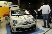 ここは、エコカーを推進するサイトのブースだった。これが「アバルト500」をベースにした「エコアバルト」コンペティション仕様。2012年の「FIA オルタナティブ エナジー カップ」でクラス優勝を果たした。