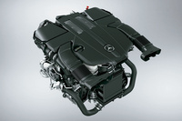 「E400 4MATICエクスクルーシブ」に搭載される、3.5リッターV6直噴ガソリンターボエンジン。