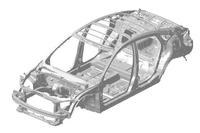「シビックセダン」のボディー骨格。新型シビックには、新型「CR-V」(日本未導入)から導入が進められている、新世代のプラットフォームが用いられている。