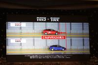 発表会のスライド説明より。「VRX2」は、従来品の「VRX」に比べて氷上ブレーキ性能が10%向上している。