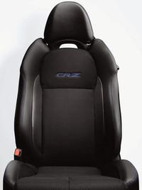 「CR−Z」のロゴ刺しゅうとブルーのステッチが入れられる、専用カラーコンビシート。