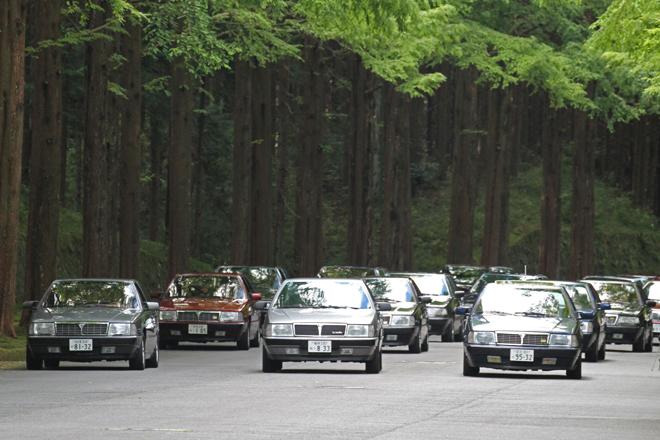 メタセコイアの並木道を隊列を組んで入場する、今回のテーマカーである25台の「テーマ」。ティーポ4プロジェクトの名のもとに「フィアット・クロマ」「アルファ・ロメオ164」「サーブ9000」と共同開発され、1984年にデビューしたランチアのフラッグシップサルーンである。