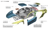 フレームと同様、ボディーパネルにも複数の素材を採用。日本仕様ではカーボンルーフは標準装備となる。