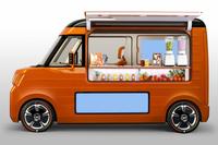軽自動車用のFFプラットフォームを利用した移動販売車で、カウンターテーブルやガルウイングドア、デジタルサイネージなどを備えている。