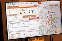 システムの核となる施設側PCの画面の一例。ご覧の通り、GPSにより送迎の運行状況も確認できるのだが、そのGPSが携帯端末のものか、車載機器によるものかは確認しそびれてしまった。無念……。