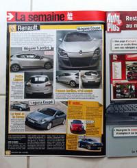 """【写真上下】記者が勾留された15日に発売された『Auto Plus』最新号。 このなかでも、""""実車と思われる""""3代目「メガーヌ」(パリサロンで公開予定)の写真を掲載している。"""