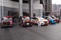 発表会の会場となった本田技研工業青山本社の前には、「FIT 1.5 Challenge Cup」や「N-ONE OWNER'S CUP」の参戦車両が並べられた。