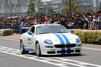 F1に先だってデモランを行ったマセラティ・トロフェオ。ドライバーは同じく桧井保孝選手。
