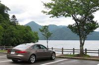目的地である中禅寺湖畔の歌ヶ浜駐車場。サービスエリア「パサール羽生」での休憩を除くと、移動時間はおよそ2時間でした。
