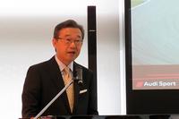 アウディ スポーツの歴史について紹介するアウディ ジャパンの斎藤 徹社長。