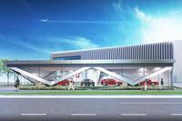 ショールームのほか、7つの作業ベイを備えるサービス工場が併設される予定。
