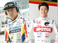 レーシングドライバーの脇阪寿一選手(写真左)と山本尚貴選手。