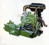 ストロークを5mm延長し、それまでの836ccから893ccにスケールアップした直4OHVの「GP型エンジン」。最高出力は28ps/4600rpmから35ps/5000rpmに、最大トルクは5.3kgm/2800rpmから 6.5kgm/3200rpmに向上した。