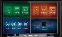 ナビ、AV、ツール、アプリの各機能を4分割表示したメニュー表示。フレーム下側にはハードキーが配置される。