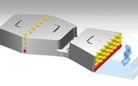 図の黄色い部分が「ダブルウエーブサイプ」。ブロック同士がダブルウエーブサイプにより噛み合い、ブロック剛性を高めるという。