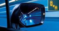 車両後側方に対する注意を促す、ドアミラーのLEDインジケーター。