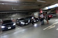 地下駐車場にて取材陣を待つ試乗車。記者は「レヴォーグ」に試乗したが、冷静に考えたら、大幅改良を受けたレヴォーグを公道で運転するのも、今回が初だった。