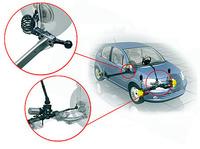 C3のサスペンションは、フロントがマクファーソンストラット/コイル、リアはトーションビーム/コイルとなった。左右トレーリングアームをむすぶビームの位置を、フロント寄りにするか、アーム後端に近づけるかで、サスペンションの性格が変わる。アーム付け根付近で結ぶと、左右後輪のトーおよびキャンバー変化の許容範囲が広がる。つまり、より独立式に近い動きとなるわけだ。