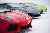 """赤、グレー、黄緑が雪上に映える。""""教習車""""はしめて1億2000万円超なり。"""